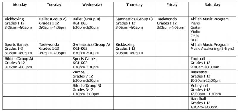 extra curricular timetable
